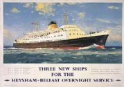 Duke of Lancaster. Heysham-Belfast Ferry Service. Vintage BR Travel poster by Wilcox